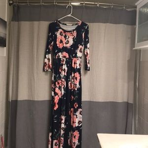 Maxi dress - blue and pink flowers large